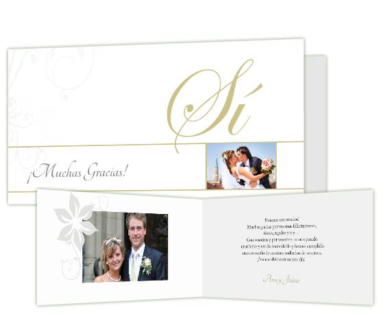 Tarjeta agradecimiento boda